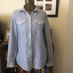 Banana Republic blue and white Soft Wash Shirt  M